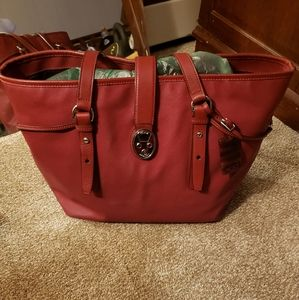Tumi Large Leather Tote with Lock & Key